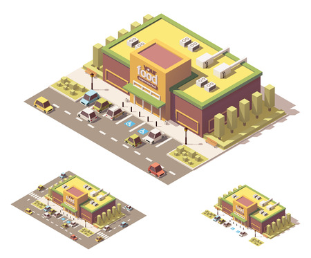 grocer: isometric low poly grocery store building