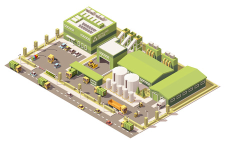 isometric low poly waste recycling plant