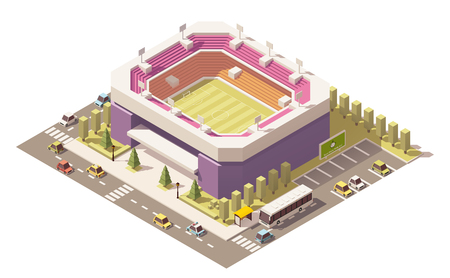 real estate house: isometric low poly football stadium