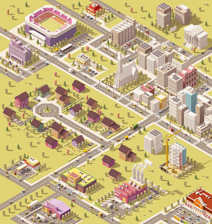 suburban street: Vector isometric low poly city infrastructure