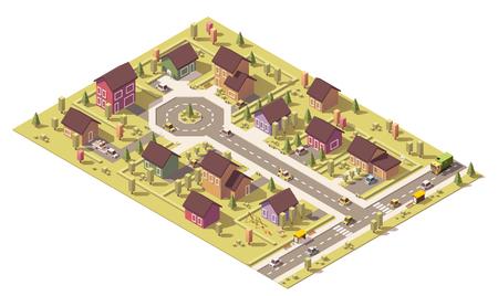 Isometrische kaart van de kleine stad of voorstad Stock Illustratie