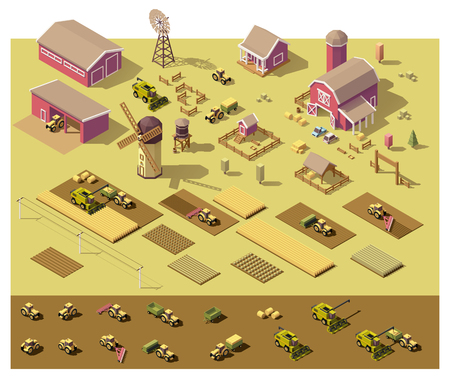 home icon: isometric low poly farm elements. Farm buildings, vehicles included, fields with plants and fence
