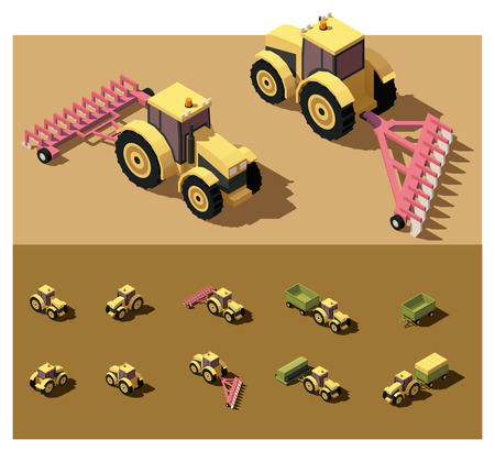 isometric low poly tractor working in field