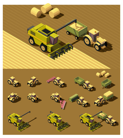 sowing: isometric low poly tractor and combine harvester working in field