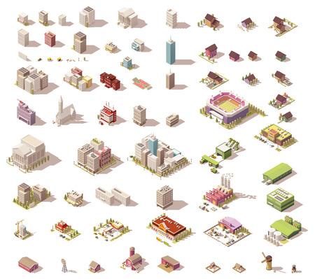 Different izometryczne niska zabudowa poli i elementy miasta Ilustracje wektorowe
