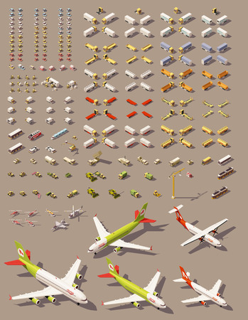 isometric low poly transports set. Cars, trucks, tractors, airplanes, helicopters and other isometric vehicles Vectores