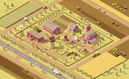 isometrische laag poly boerderij elementen. Bedrijfsgebouwen, landbouwmachines en voertuigen werken in het veld