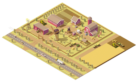 home icon: isometric low poly farm elements. Farm buildings, agricultural equipment and vehicles working in field