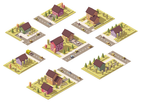 suburban: isometric low poly suburban buildings and structures