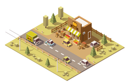 food store: isometric low poly roadside farmers food store