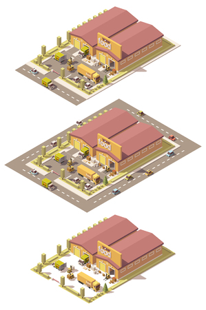 forklifts: isometric low poly produce warehouse building with trucks and forklifts