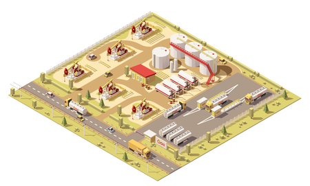 Champ de pétrole poly faible isométrique de vecteur. l'illustration comprend des pompes à huile, des réservoirs d'huile et des camions avec citernes