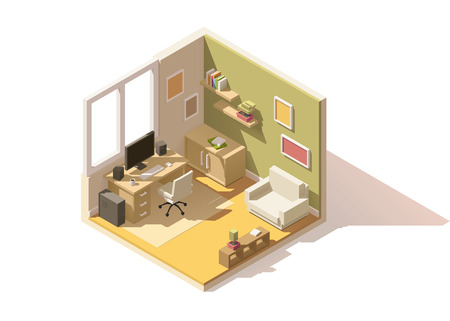 apartment: isometric low poly room cutaway icon. Room includes furniture - working table with computer, office chair, armchair, bookshelf and domestic plants