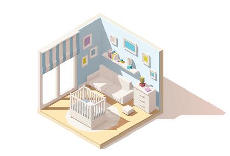 isometrica low poly baby room icona spaccato. Camera comprende bambino culla, armadio e divano Vettoriali