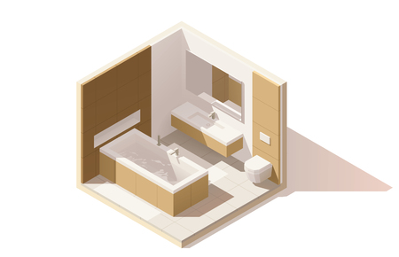 contemporary: isometric low poly bathroom cutaway icon. Room includes bathtub, furniture, toilet bowl, washbasin