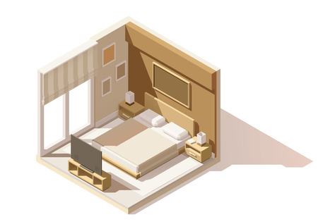 isometric low poly bedroom cutaway icon. Room includes bed, nightstands, other furniture and lamps
