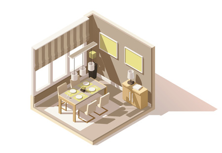 home icon: isometric low poly dining room cutaway icon. Room includes table, chairs, other furniture and lamps