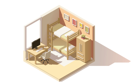 bunk bed: isometric low poly children room cutaway icon. Room includes bunk bed, computer table with office chair, other furniture Illustration