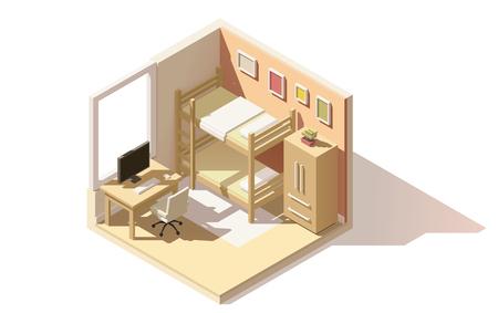 literas: poli baja hijos isométrica icono de corte habitación. La habitación incluye cama litera, mesa de ordenador con la silla de oficina, otros muebles Vectores