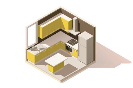 아이소 메트릭 낮은 폴 리 부엌 방 아이콘. 가구 및 주요 주방 용품을 갖춘 객실입니다.