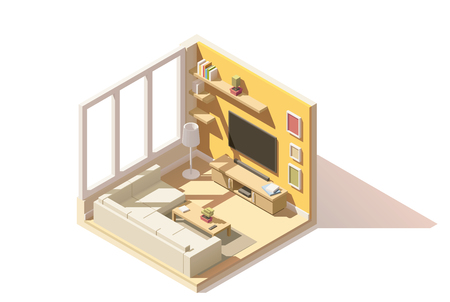 sofa furniture: isometric low poly living room cutaway icon. Room includes sofa, coffee table, tv and other furniture