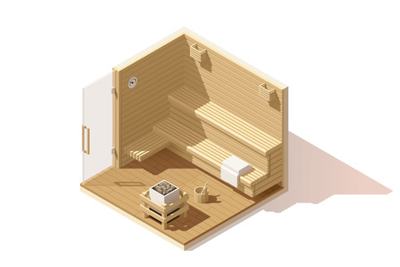 Isometric low poly wooden sauna room cutaway icon. Room includes sauna accessories