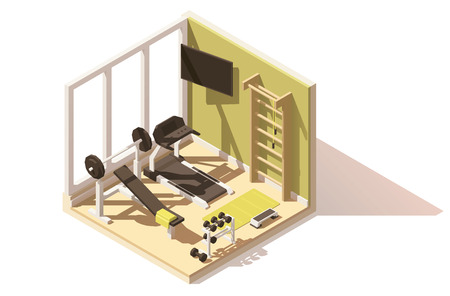 Vector isometric low poly gym oom icon