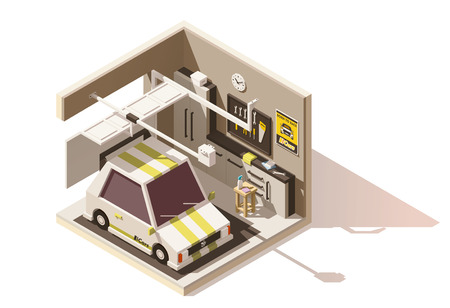 opener: Vector isometric low poly garage icon