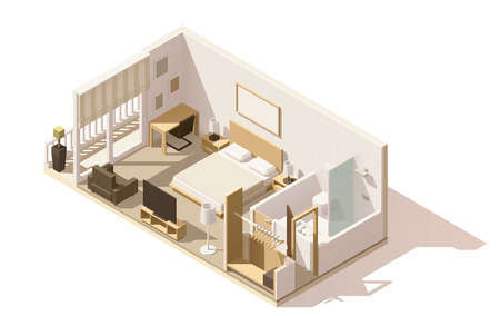 interior decoration: Vector isometric low poly hotel room icon