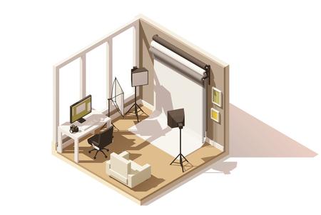等尺性の低ポリ写真スタジオ ルーム アイコンをベクトルします。