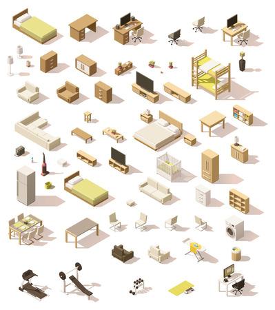 isometrico: Conjunto de mobiliario doméstico isométrico bajo en poli