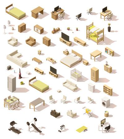 Vector isometric low poly domestic furniture set Çizim