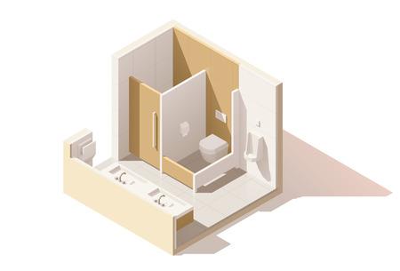 Vector isometric low poly public toilet icon