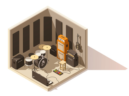 Vector isometric low poly recording studio icon Çizim