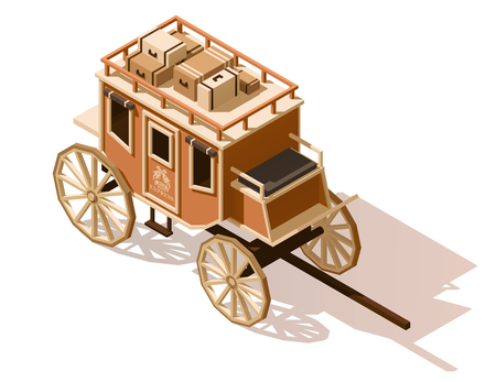 wagon wheel: Vector isometric low poly stagecoach icon Illustration