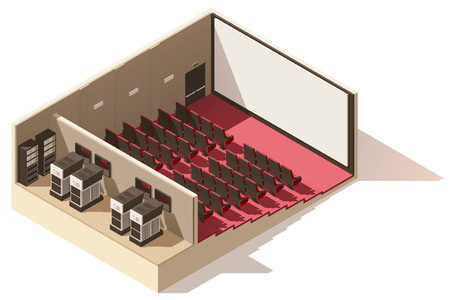 interior decoration: Vector isometric low poly movie theater cutaway