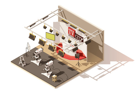 Vector isometrische laag poly televisiestudio icon Stock Illustratie