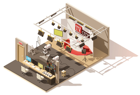 Vector isometric low poly television studio