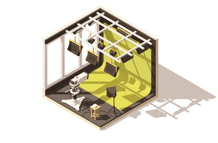 Vector isometrische laag poly televisiestudio