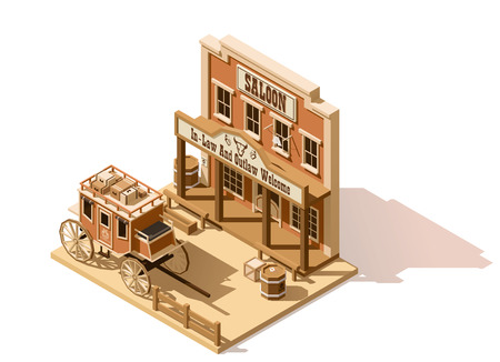 Vector isometric low poly wild west saloon Çizim