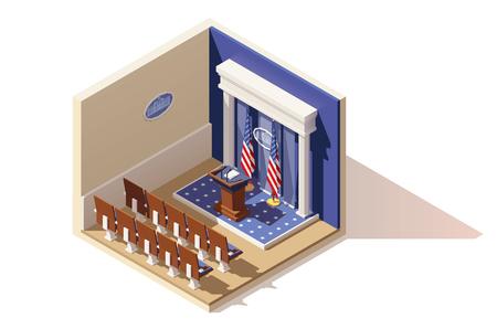 Vector isométrica sala de prensa de la Casa Blanca Ilustración de vector