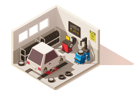 modern interior: Vector isometric low poly car tire service icon