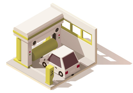 Vector isometric low poly car wash icon