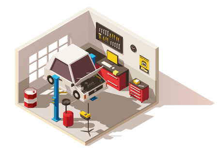 ベクトル等尺性の低ポリ車サービス センター] アイコン  イラスト・ベクター素材