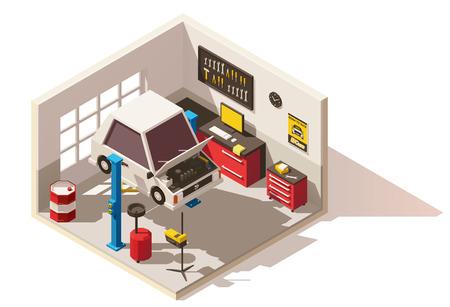 Vector isometrische laag poly auto service center icoon Stock Illustratie