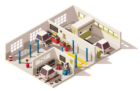 ベクトル等尺性の低ポリ車サービス センター  イラスト・ベクター素材