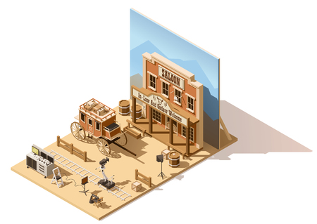 Vector isometric low poly movie set