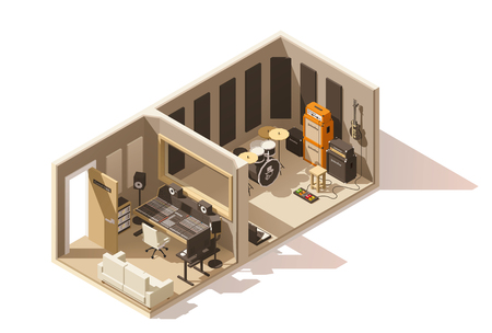 Vector isometric low poly recording studio icon Illustration