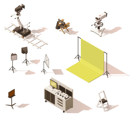 Vector isometric low poly video equipment set Illustration