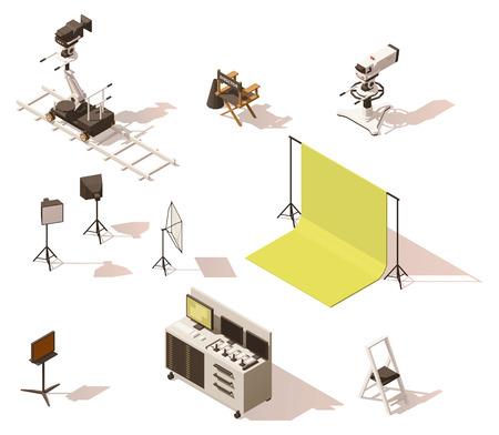 Vector izometrycznym low poly zestaw sprzętu wideo Ilustracje wektorowe